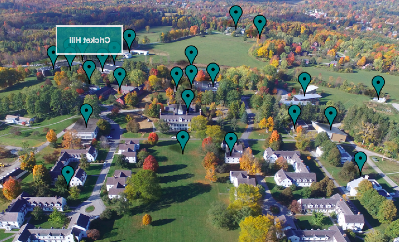 Bennington campus panorama with pins at tour locations